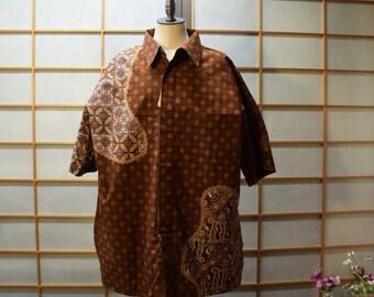 Ethnic Men  Cotton Batik Shirt  Brown XL New With Tag