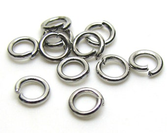 5mm Jump Rings : 100 Antique Silver Open Jump Rings 5mm x 1mm (18 Gauge) | 5mm Silver Ox Jump Rings -- Lead, Nickel, & Cadmium free 5/1