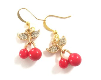 Cherry earrings and rhinestones