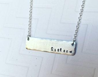 Sisters Necklace - Hand Stamped Personalized - Silver Bar Necklace - Gift For Sister - Gift For Her - Christmas Gift