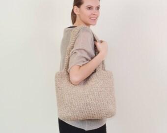 wool bag, crochet bag, handmade bag, organic bag, ladies bag, knitted bag, handcrafted bag, rope bag, shopping bag, tote bag, Christmas gift