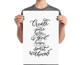 Create in me a pure heart print | Psalms 51:10 | Bible verse print | Christian print | spiritual art | hand lettered print |