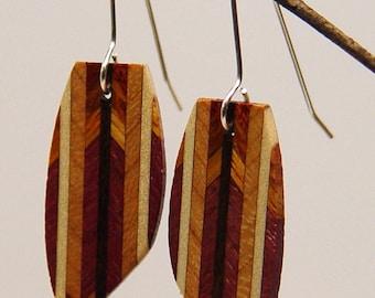Wood Dangle, Drop, Silver Earwire, Wooden Earrings, earrings, 5-6