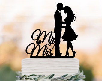 Wedding Cake topper Mr and Mrs , bride and groom silhouette wedding cake decoration, funny wedding cake toppers