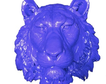 Blue Bengal Tiger Head Mount Wall Statue. Faux Taxidermy Fake Bengal Tiger Head.