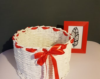 Handmade Recycled Paper Decorated Basket