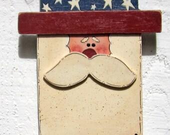 Uncle Sam Door Hanger Wall Hanger 4th of July Door Hanger Door Sign Outdoor Welcome Sign Yard Sign Hand Painted Patriotic Americana Wood