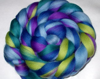 Merino wool roving, felting wool, needle felting wool, nuno felting, dolls hair, dreads, dread wool, lime, teal, purple, rainbow,3.5oz, 100g