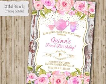 Tea Party Birthday Invitation, Enchanted Garden Invitation, Floral Tea Party Invite, Boho Chic, Shabby Chic, Watercolor, Vintage