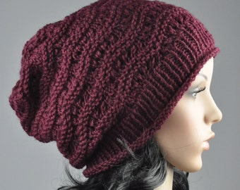 Burgundy Chunky Hat weaving pattern slouchy hat wool hat-ready to ship