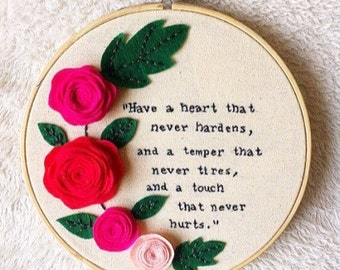"Charles Dickens ""Hard times"" book quote embroidery hoop art/Dickens stitching/literature embroidery"