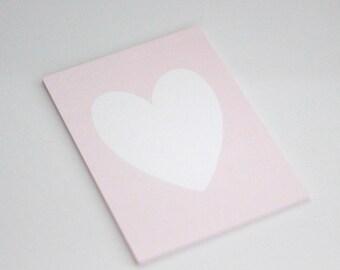 White Shimmer Heart on Light Pink Shimmer background //  Light pink heart print // light pink background // art for girls room //PRINT 5x7