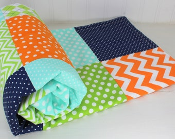 Baby Quilt, Nursery Decor, Baby Blanket, Minky Baby Blanket, Baby Shower Gift, Navy, Blue, Lime, Green, Mint, Orange, White, Baby Boy