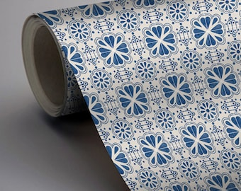 Mexican Domino Wallpaper in Indigo Blue  Removable Vinyl Wallpaper - Peel & Stick - No Glue, No Mess