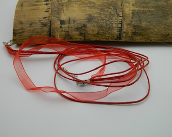 Red Organza Ribbon necklace and 4 43cm waxed cotton thread
