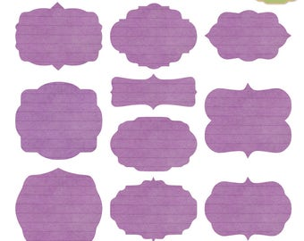 Digital Labels Vintage, Purple Labels Printable, Digital Frames Clipart, Printable Frames Vintage, Texture Label Clipart, Commercial Use Tag