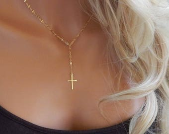 Cross Necklace • Lariat Cross Necklace • Gold or Sterling Silver Cross • Simple Christian Lariat • Dainty Gold Necklace • Religious Jewelry