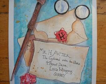 Harry Potter Watercolor Original Painting