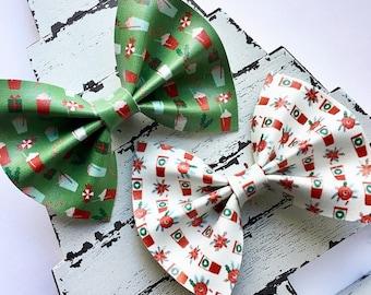 CLEARANCE-Christmas Coffee Hair Bow Set / Peppermint Latte Hair Clip / Faux Leather Baby Hair Bow Headband / Christmas Gift