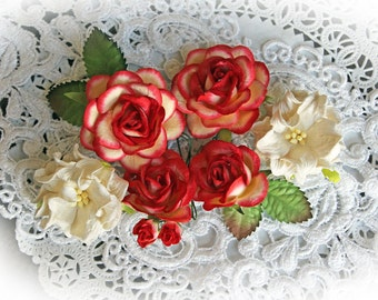 Reneabouquets  Roses, Gardenias And Leaves Flower Set-Mulberry Paper Flowers - Vintage Red Set Of 12 Pieces In Organza  Bag