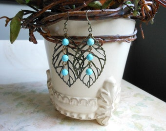 Brass Leaf Earrings,Turquoise Dangle Earrings
