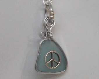 Sea Glass with Peace Sign Necklace