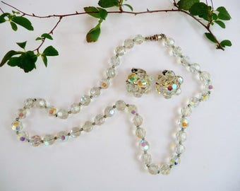 Vintage Crystal Necklace and Earring Set, Aurora Borealis Beads, Glass Bead Choker, AB Clip Ons, Wedding Prom 1950's