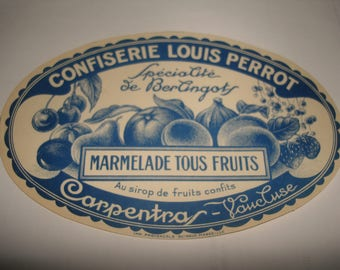 antique french  label / vintage french marmelade paper label