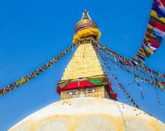 Nepal Photography, Buddhist Temple, Wall Art, Large Print, Buddha Art Print, Rich Colors