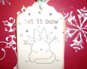 Christmas Gift Tags - Snowman Cat Let It Snow - Set of Six - Hand Made