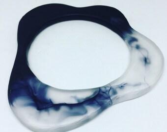 Organic shaped frosty transparent black eco resin bangle