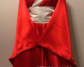 Red White Satin Kimono Dress