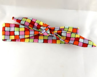 Headband tie multicolored square color