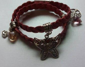 Antique pink, braided leather wrap bracelet.