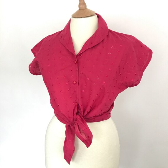 Vintage lace blouse 1950s style, red top. 50s bad girl, embroidery anglais, tie front, cropped, short sleeves, medium, lady k loves,