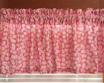 """Daisies on Pink Background ~ Window Valance ~ 42"""" Wide"""