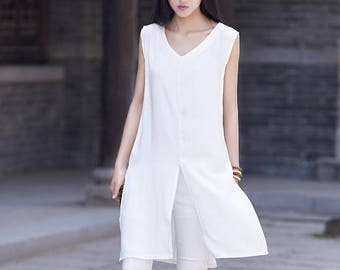 Spring and summer cotton and linen vest – simple retro fresh elegant dress-style long women vest