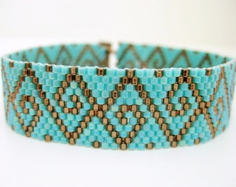 Swirls Peyote Bracelet  / Beaded Bracelet in Brown and Turquoise /  Seed Bead Bracelet /  Beadwoven Bracelet /  Geometric Bracelet