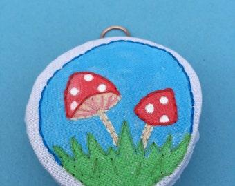 Tiny Embroidery art, Mushroom textile, acrylic paint and embroidery, textile art embroidery, hand embroidered, small embroidery, wall art
