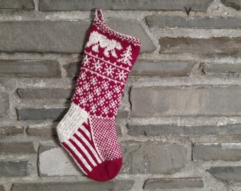 2018 Polar Bear Christmas stocking: hand knit, personalized name available