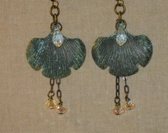 Metal/Crystal Earrings with Patina Finish.