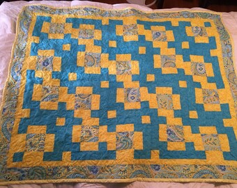 Bright and Cheery Yellow & Blue Lap Quilt