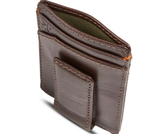 Jack MULTICARD Magnetic Front Pocket Wallet • Strong Magnetic Closure • Money Clip Wallet • Multi-Card Functionality • Mens Leather Wallet