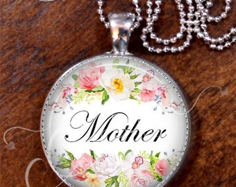 MOTHERS DAY/Watercolor Pattern/Floral Pendant/Silver Plate/MOTHER/Porcelain Look/Vintage Style Necklace