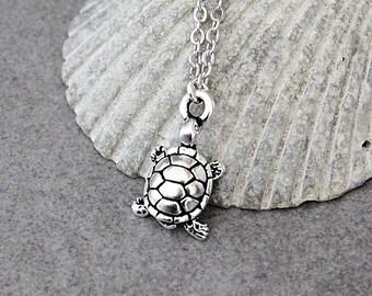 Silver Turtle Necklace, Turtle Necklace, Turtle Pendant Necklace, Dainty Necklace, Small Turtle Necklace, Turtle Jewelry, Turtle Gift