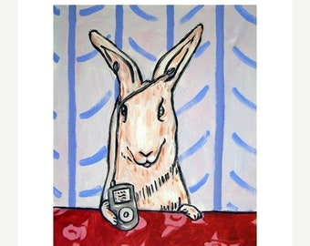 25% off bunny art - Bunny with i pod, bunny art, bunny print, rabbit art, rabbit print, gift, white rabbit - bunny gift