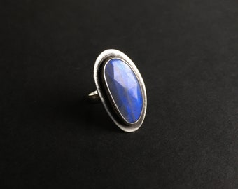 Labradorite Ring ~ Rose Cut Labradorite Ring ~ Statement Ring ~ Blue Labradorite Ring ~ Statement Ring ~ Size 6 Labradorite Ring ~