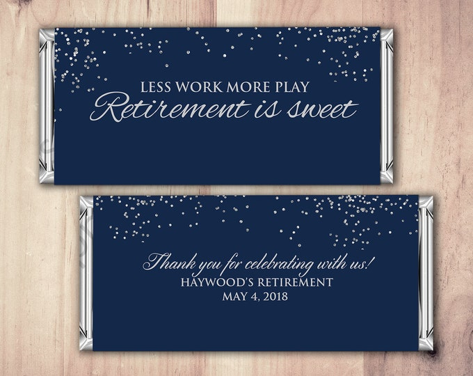 Retirement Candy Bar Wrapper, Printable Digital File,Candy Bar, gold glitter, retirement party, party favor, gift, thank you, elegant