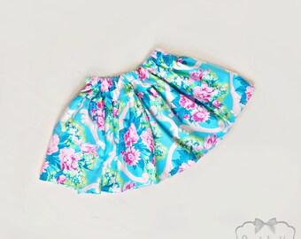 Shabby Floral Skirt - Girl Twirl Skirt - Baby Pink Blue Twirl Skirt - Infant Rose Skirt - Tween Cottage Skirt - Toddler 6 month to Girl 16