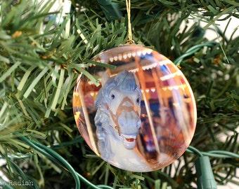 Carousel Horse Ornament - Fun Carousel House Glitter Ornament - Sparkly Glitter Ornament - Happy Merry Go Round Horse - Rainbow Glitter